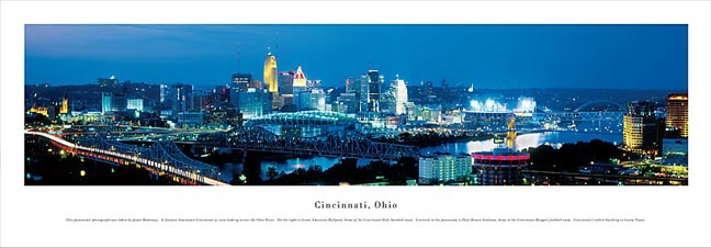 Cincinnati Ohio Skyline Panoramic Photograph 1B