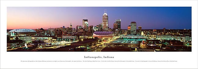 Indianapolis Indiana Skyline Panoramic Photograph 2