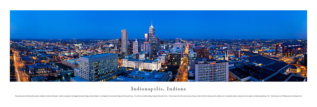 Indianapolis Indiana Skyline Panoramic Photograph 3
