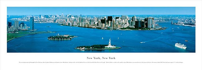 New York NY City Skyline with Statue of Liberty Panoramic Photograph 9