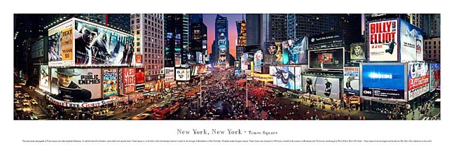 New York, NY Times Square City Skyline Panoramic Photograph 2