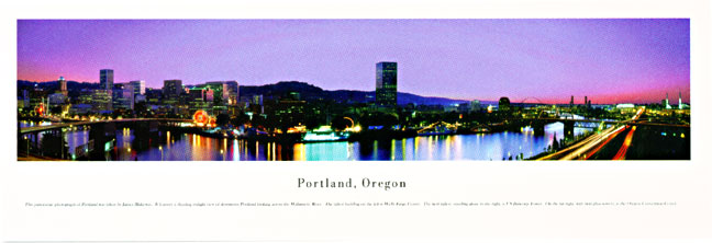 Portland Statename Skyline Panoramic Photograph 1B