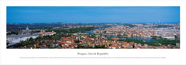 Prague Czech Republic Skyline Panoramic Photograph 1