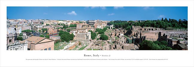 Rome Italy Ruins Skyline Panoramic Photograph 2