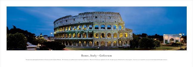 The Colosseum in Rome Italy Skyline Panoramic Photograph
