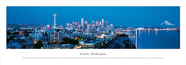 Seattle Washington Skyline Panoramic Photograph 1