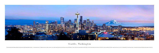 Seattle Washington Skyline Panoramic Photograph 2