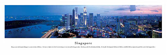 Singapore  Skyline Panoramic Photograph 1